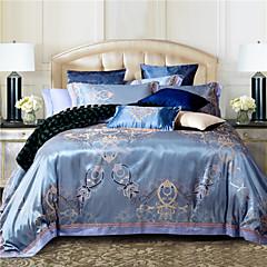 100% Baumwolle& Seide blaue Rom-Art-Jacquard-Bettwäsche-Set 4 Stück vollständige Queen-Size-