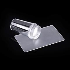 arte do prego de silicone transparente carimbo e conjunto retângulo raspador de segurança