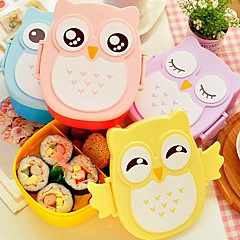 1050ml Cute Owl Lunch Box Storage Container Portable Bento Food Safe Picnic Container (Random Color)