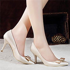 Women's Shoes Satin Spring / Summer / Fall Heels / Pointed Toe / Closed Toe Wedding / Dress / Party & Evening Stiletto Heel BowknotRed /