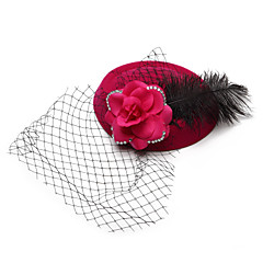 Women's Flower Girl's Feather Velvet Net Headpiece-Wedding Special Occasion Birdcage Veils 1 Piece