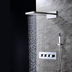 """Kortárs Fali Vízesés / Zuhany """"eső""""szórófej / Kézi zuhanyzót tartalmaz with  Kerámiaszelep Négy fogantyú három lyuk for  Króm , Zuhany"""