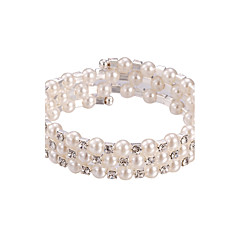 Three Layer Pearl Crystal No Clasp Elastic Bangle Bracelet Jewelry (One Size for All)
