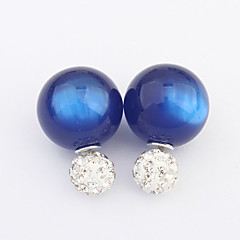 Women's Sweet Candy Colors Cute Rhinestone Stud Earrings