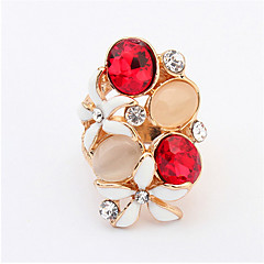 Austrian Crystal Gold Plated Flower Pattern Love Women Lady Cute Round Multicolor Ring Elegant Fashion Jewelry