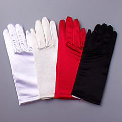 Wrist Length Fingertips Glove Satin / Elastic Satin Bridal Gloves / Party/ Evening Gloves Spring / Summer / Fall / WinterBlack / White /