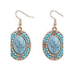 Simple Oval Turquoise Crystal Bride Celebration Earrings