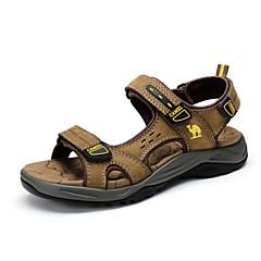 Sapatos Masculinos-Sandálias-Marrom / Caqui-Pele-Ar-Livre / Casual