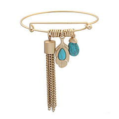 European And American Fashion Matte Gold Turquoise Bracelet