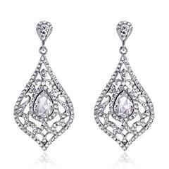 Luxury Drops Shape Cubic Zrconia Crystal Drop Earrings Jewelry for Lady(3.6*6.6cm)