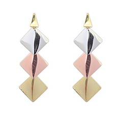 New Fashion Elegant Gold Silver Plated Long Tassel Drop Earrings Geometry Square Earrings Jewelry
