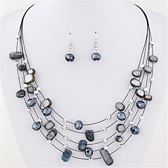 Women European Style Fashion Exquisite Bohemian Multilayer Shell Necklace Earring Set