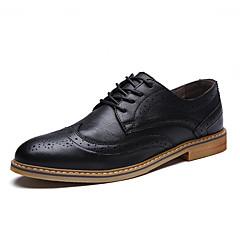 גברים-סוגי כפכפים-עור-נוחות נעלי בולוק-שחור חום אפור-משרד ועבודה יומיומי מסיבה וערב-עקב שטוח