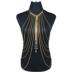 Dame Kroppsmykker Magekjede Kroppskjede / Magekjede Harness Necklace Gullbelagt Overgang Dusker Sexy Bikini Mote uttalelse smykker Gylden