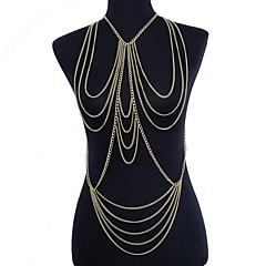 Női Testékszer Deréklánc kábelköteg nyaklánc Body Lánc / Belly Chain Sexy Európai Crossover Többrétegű jelmez ékszerek Arannyal bevont