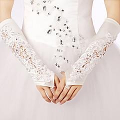 Ópera Sem Dedos Luva Renda Poliéster Luvas de Noiva Luvas de Festa Primavera Verão Outono Inverno Bordados Strass Renda