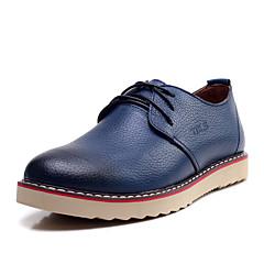 TBLS® Herren Leder Oxfords Blau / Braun / Gelb-6295-2
