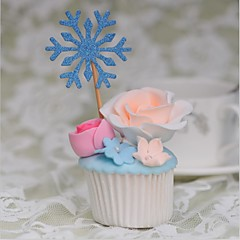קישוטים לעוגה לא מותאם אישית לבבות נייר כרטיס חתונה / יום שנה / יום הולדת פרחים כסף / כחול נושא חוף / נושא קלאסי 10 OPP