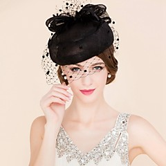 Women's Tulle / Flax Headpiece-Wedding / Special Occasion / Casual Fascinators / Hats / Birdcage Veils 1 Piece Oval