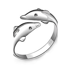 Happiness In Love Double  Dolphin Openings Silver Ring