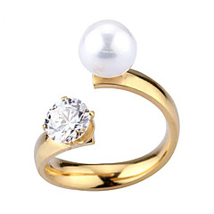 High grade pearl crystal zircon opening ring