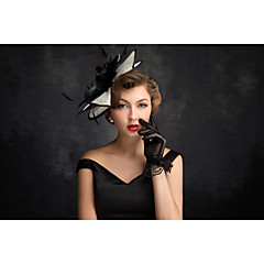 Women's Feather / Flax / Net Headpiece-Special Occasion Fascinators 1 Piece