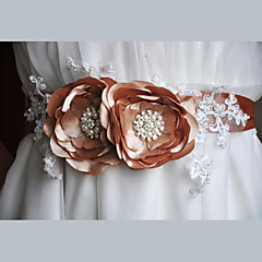 Satin /Lace Wedding / Party/ Evening / Dailywear Sash-Floral / Imitation Pearl Women's 86 ½in(220cm)Floral /