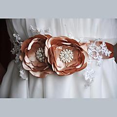 Cetim / Cetim/Tule / Renda Casamento / Festa/Noite / Dia a Dia Faixa-Florais / Pedraria / Imitação de Pérola Feminino 86 ½polegadas(220cm)