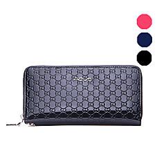 AOVO® Damen Kuhfell Brieftasche Blau / Schwarz / Fuchsie-168