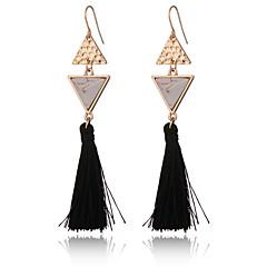 New Design Women's Turquoise Tassle Earrings Gold Plated Triangle Earrings Vintage Ethnic Long Earrings Jewelry