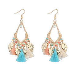 Bohemian Fashion Jewelry Gold Plated Leaves Tassel Earrings For Women Statement Long Earring Gifts