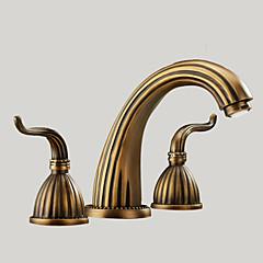 Antik Udspredt To Håndtag tre huller in Antik Messing Håndvasken vandhane