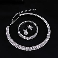 Jewelry Set Stud Earrings Choker Necklaces Tennis Bracelet Fashion Bridal Elegant Imitation Diamond Circle for Wedding Party Daily Gift