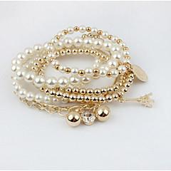 女性 チャームブレスレット ストランドブレスレット ラップブレスレット ダブルレイヤー 人造真珠 ファッション 愛らしいです 真珠 合金 ジュエリー ジュエリー 用途 パーティー 日常 カジュアル