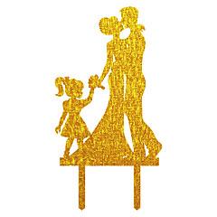 Décorations de Gâteaux Non personnalisée Couple classique Acrylique Mariage Commémoration Fête prénuptiale Ruban Or ArgentThème asiatique
