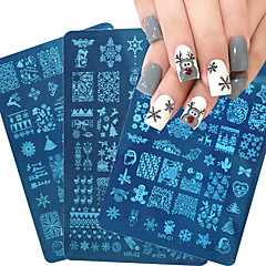 Blue Film Printing Plate Hot Christmas Series Nail Polish Template