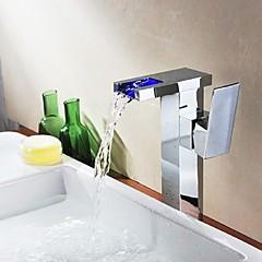 Zeitgenössisch Becken LED / Wasserfall with  Keramisches Ventil Einhand Ein Loch for  Chrom , Waschbecken Wasserhahn
