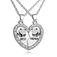 Homens Feminino Colares com Pendentes Formato de Coração Forma Geométrica Strass Prata Chapeada Liga Amor Coração Moda Jóias inicial