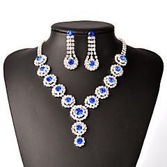 Schmuckset Halskette / Ohrringe Braut-Schmuck-Sets Modisch Kupfer Strass versilbert Blau Rosa Hellblau Halsketten Ohrringe FürParty