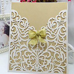 Non-personalized Wrap & Pocket Wedding Invitations Invitation Cards-10 Piece/Set Butterly Style Pearl Paper Ribbons