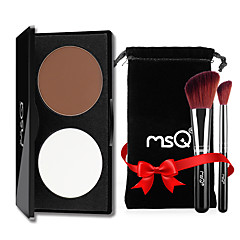 MSQ® 2 Highlighters/Bronzers Matte Powder Concealer + 2 Makeup Brushes With Comtic Bag Face White / Auburn CHINA MSQ