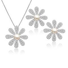 Braut-Schmuck-Sets Kubikzirkonia Multi-Wege Wear Silber Halsketten Ohrringe Für Hochzeit Party Alltag Normal 1 Set Hochzeitsgeschenke