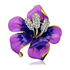 Women's Fashion Alloy/Rhinestone Flower Brooches Pin Party/Daily/Wedding Scarf Clips Jewelry 1pc