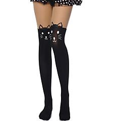 Meias e Meias-Calças Doce Lolita Transparente Preto Lolita Acessórios Meias Finas Estampado Para Feminino Veludo