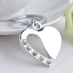 Stainless Steel Wedding Keychain Favors-1 Piece/Set Couples Keychains Non-personalised Heart With Rhinestone Design Valentine's Day