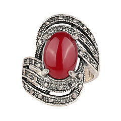 Ring Resin Silver Plated Simulated Diamond Alloy Fashion Black Red Jewelry Wedding Party Daily Casual 1pc