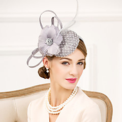 Mujer Pluma Diamantes Sintéticos Lino Red Celada-Boda Ocasión especial Casual Tocados Sombreros 1 Pieza