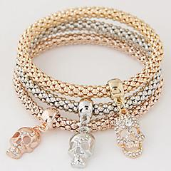 女性 チャームブレスレット ラインストーン 模造ダイヤモンド 合金 シンプルなスタイル ファッション スカル 虹色 ジュエリー 1セット