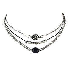 Punk Rock Silver Color Three Layers Chain Necklaces for Women