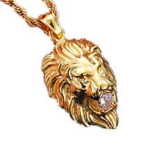 Homens Feminino Casal Colares com Pendentes Formato Animal Leão Aço Inoxidável Imitações de Diamante Moda bijuterias Jóias Para Festa